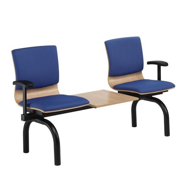 2 seats + table - upholstered seat/back pads & 2 arms - black round tube legs
