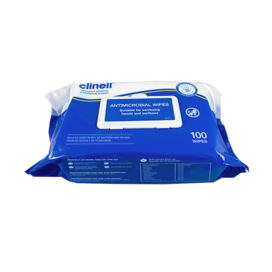 Sanitising Wipes - Clinell Antimicrobial (Blue/White) x100