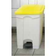 Pedal Bin 70Ltr White Plastic/Yellow Lid